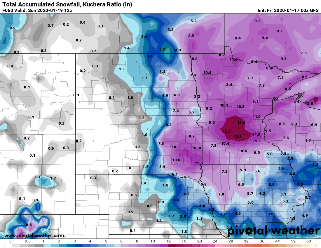 NOAA GFS snowfall output by Sunday morning