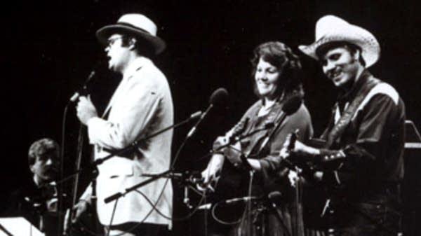 Butch Thompson, GK, and Robin and Linda Williams