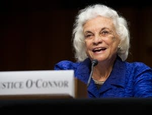 Sandra Day O'Connor testifies before a Senate committee hearing.