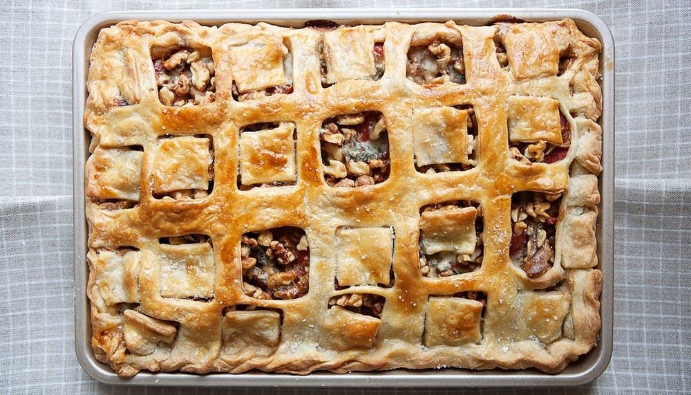 Spinach, Gorgonzola, and Walnut Slab Pie with a Cream Cheese Crust