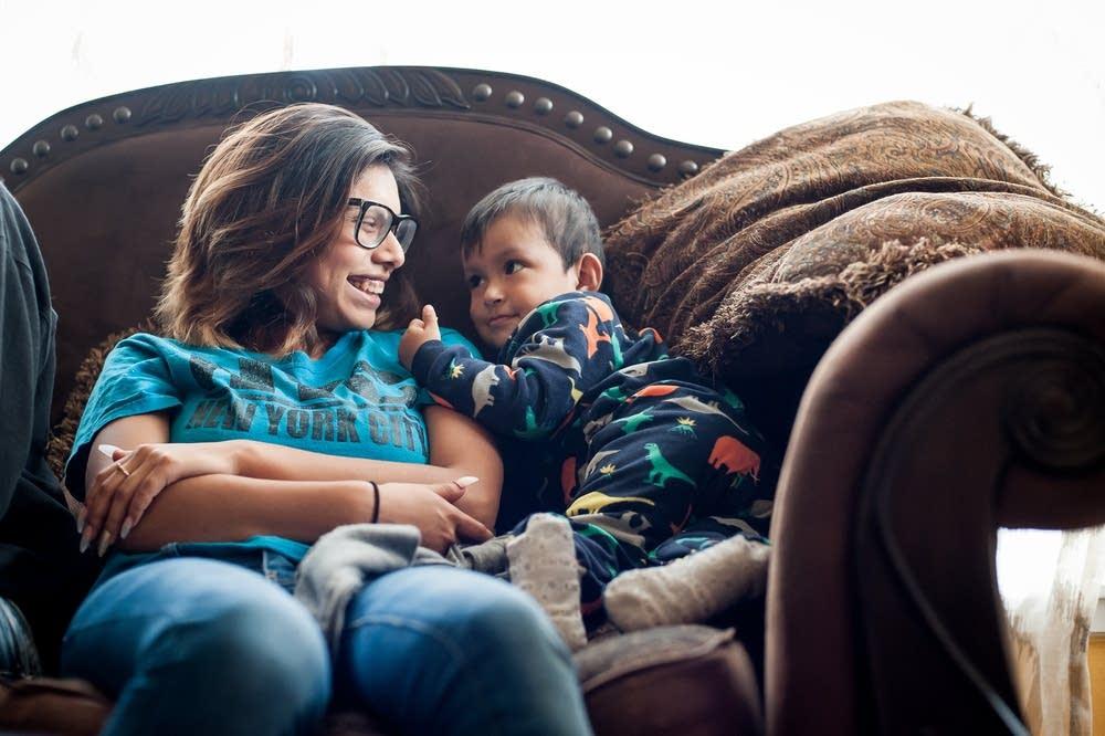 Mariana Camacho Castillo, 18, babysits her nephew.