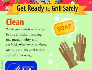 The CDC recommends washing hands thoroughly before cooking or grilling.