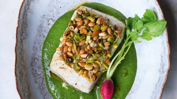 Pistachio and Pine Nut-Crusted Halibut