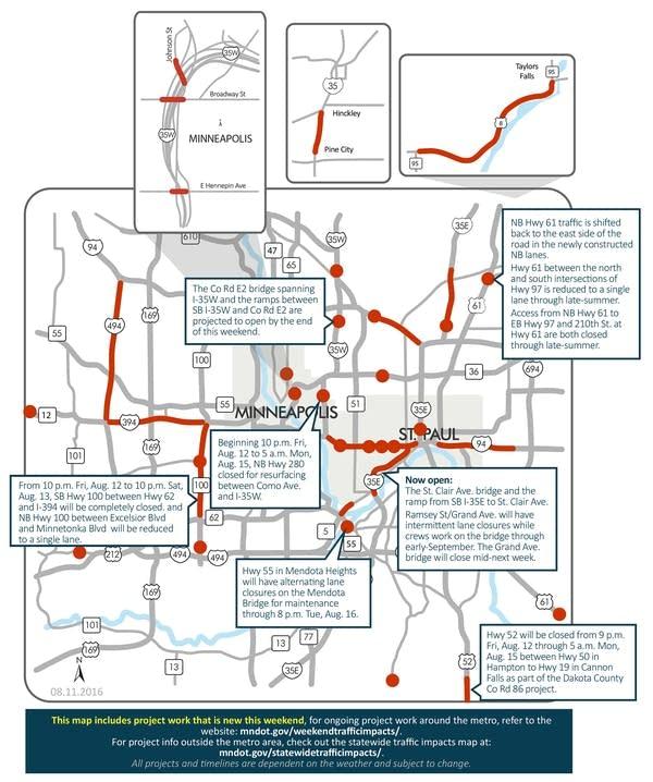 Highway 100, 280 closures top Twin Cities weekend road woes