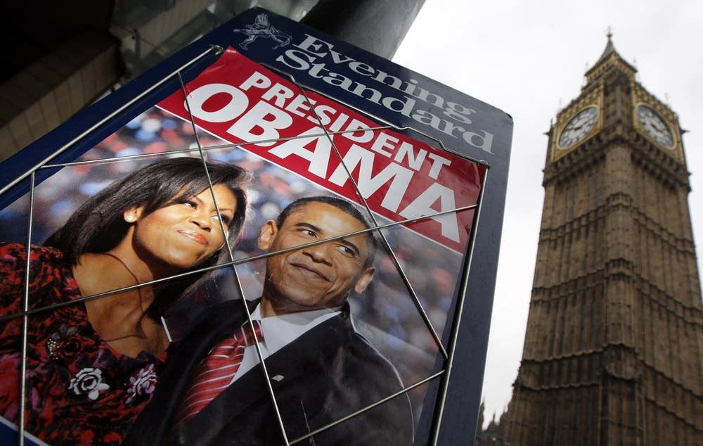 A newspaper in London declaring Obama the winner