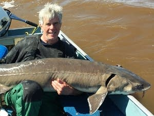 Jack Burke of Stillwater holds his record-breaking lake sturgeon