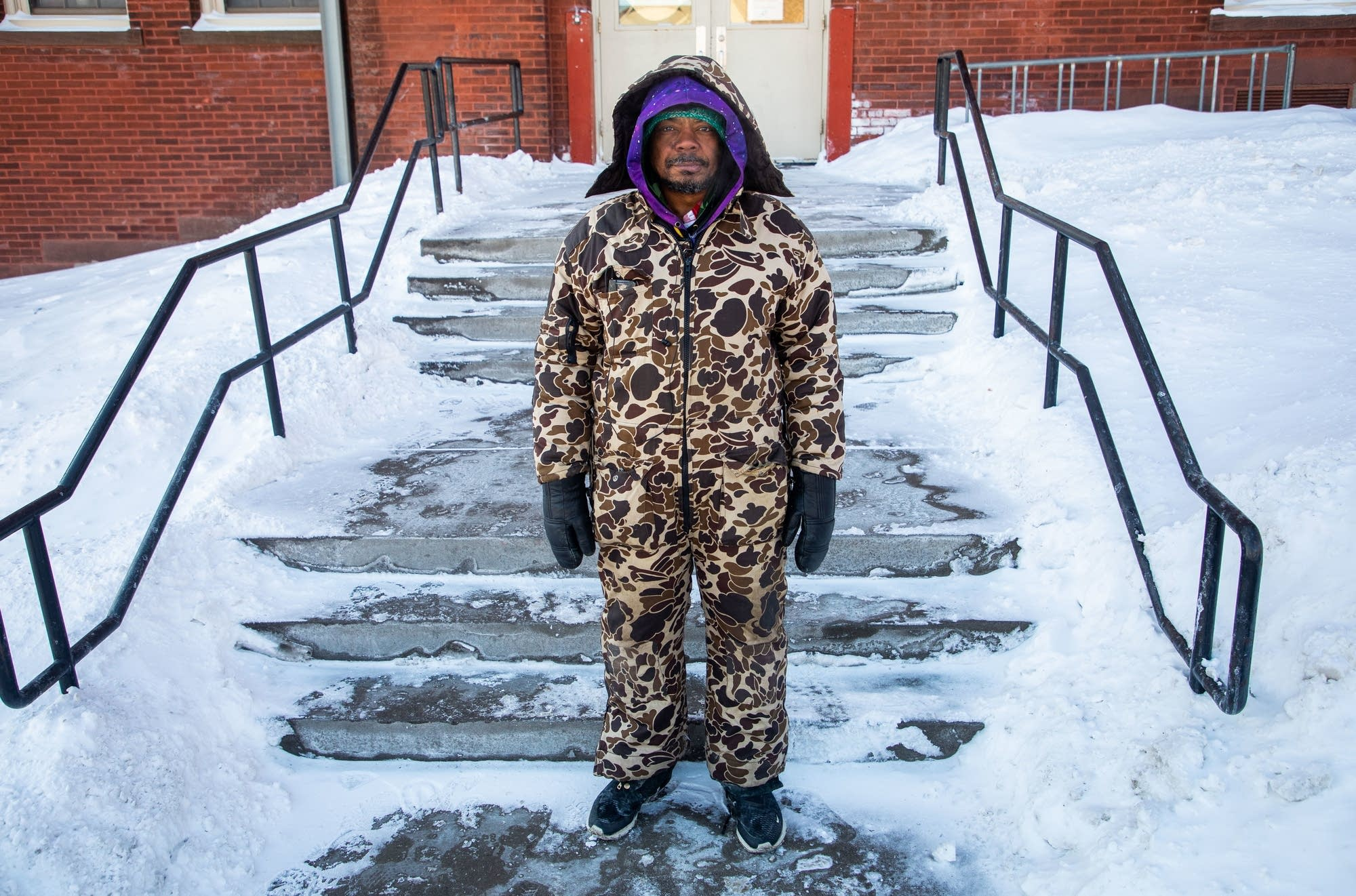 Antwoain Buchanan wore three layers and a snowsuit to stave off the cold.