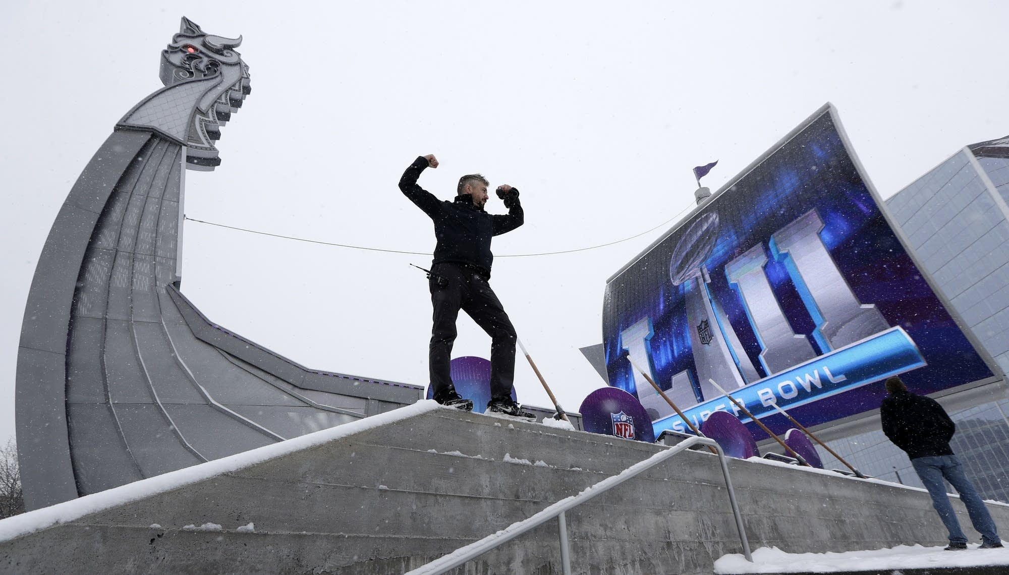 Connor Todd, of New York, poses for a photo outside U.S. Bank Stadium.
