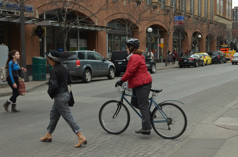 A downtown St. Paul bicyclist