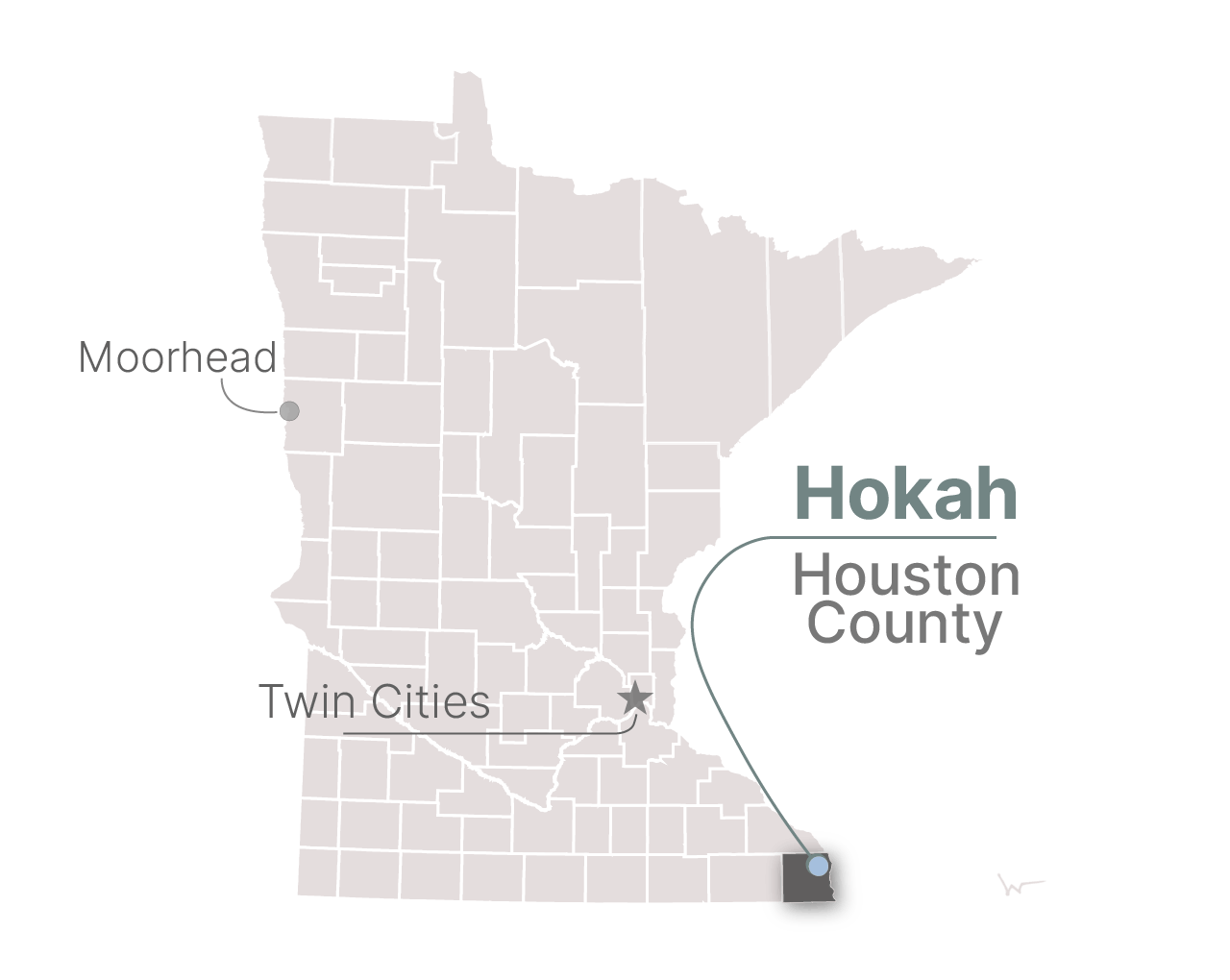 A map of Hokah, Minn.
