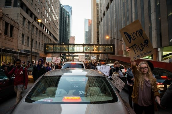Students protest President-elect Trump.