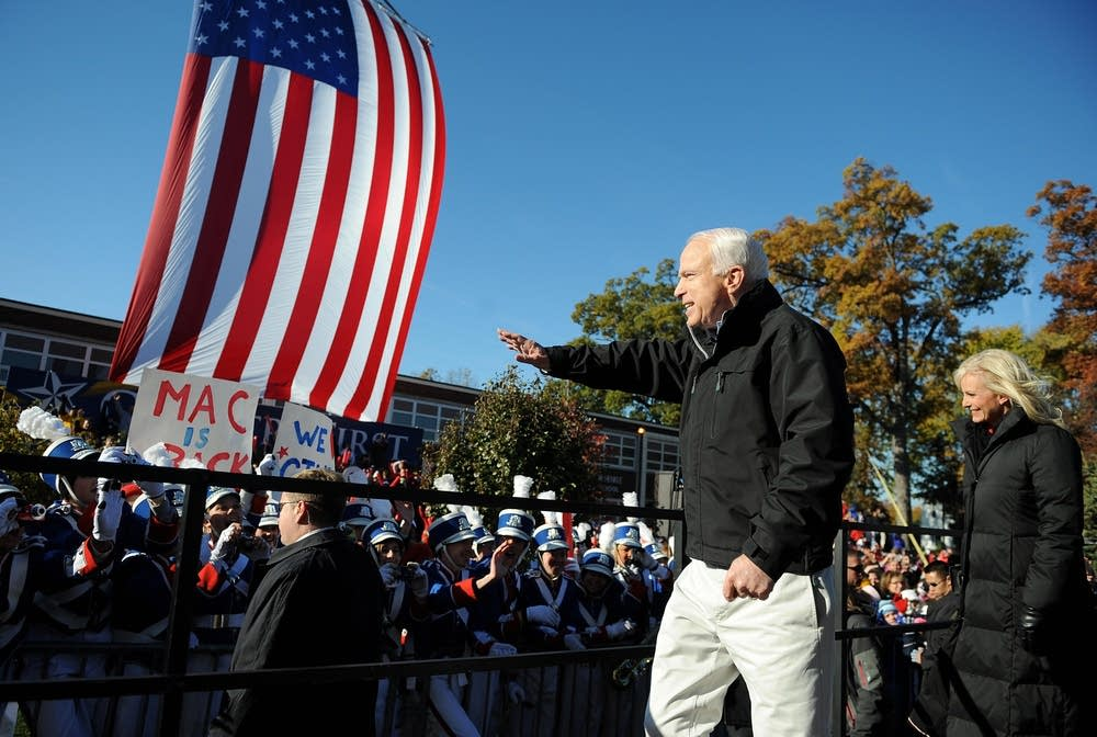 John McCain waves at supporters in Ohio
