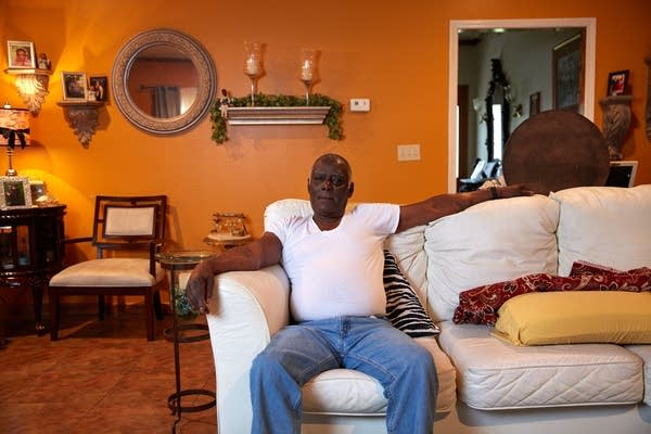 Roy Harris in his girlfriend's home in Kilmichael, Mississippi.