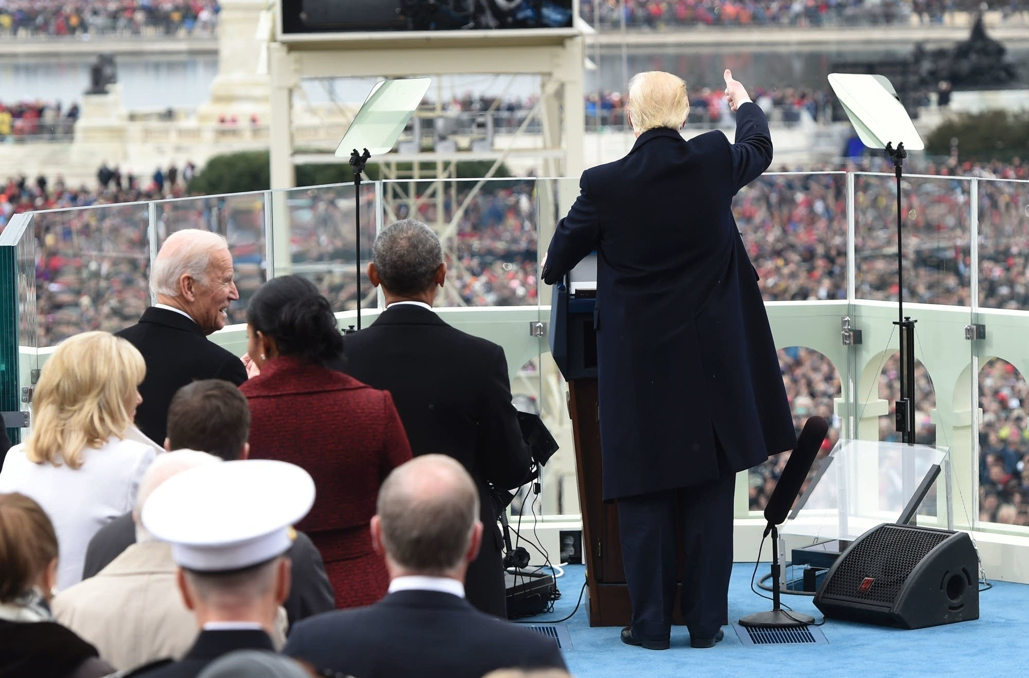 President Donald Trump acknowledges the crowd.