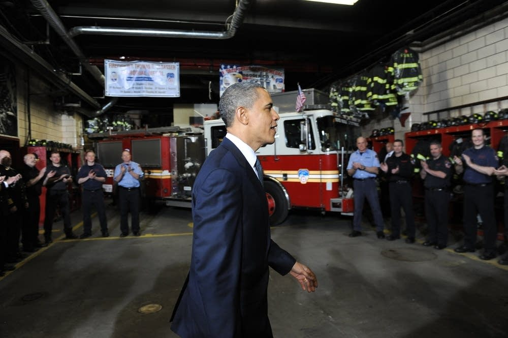 US President Barack Obama visits firehouse