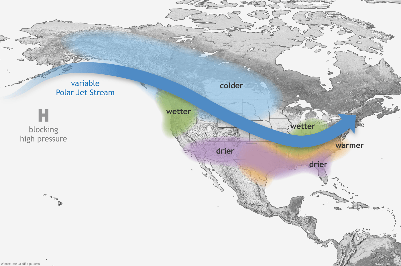 Typical La Nina winter pattern