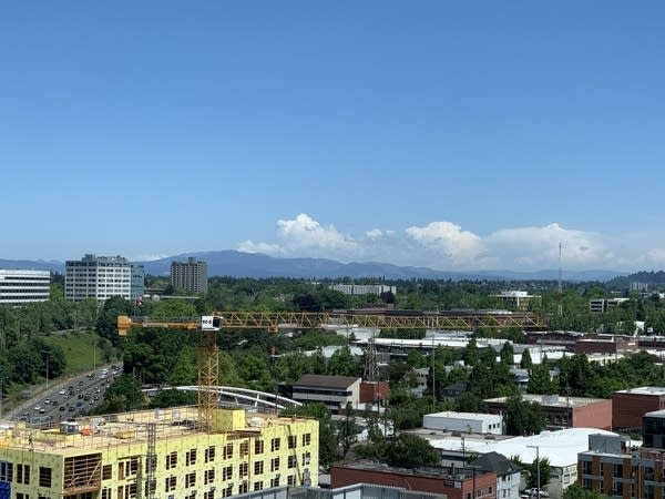 View overlooking Portland, OR, w/ construction crane in foreground