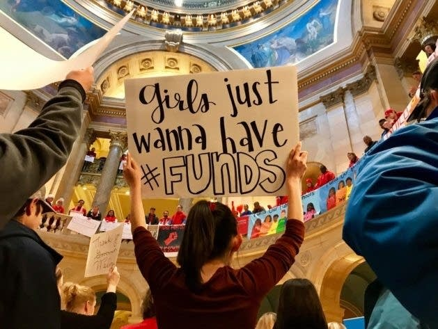 Educators rallied in the Minnesota Capitol