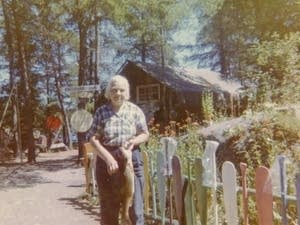 Dorothy Molter poses for a photo at her home on Knife Lake.