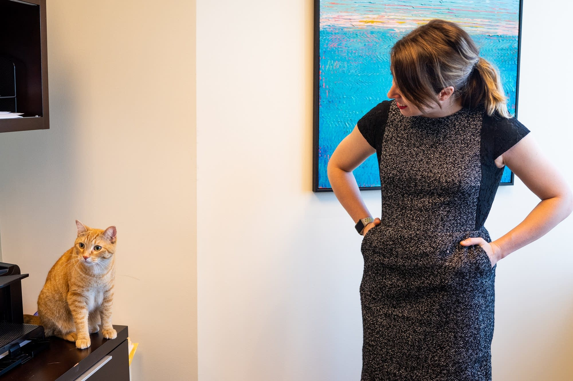 Brownson Norby associate attorney Lindsey Streicher talks to her cat, Harry