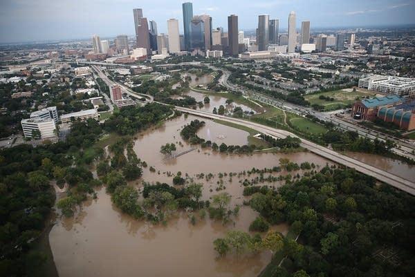 Flooding is seen near downtown Houston.
