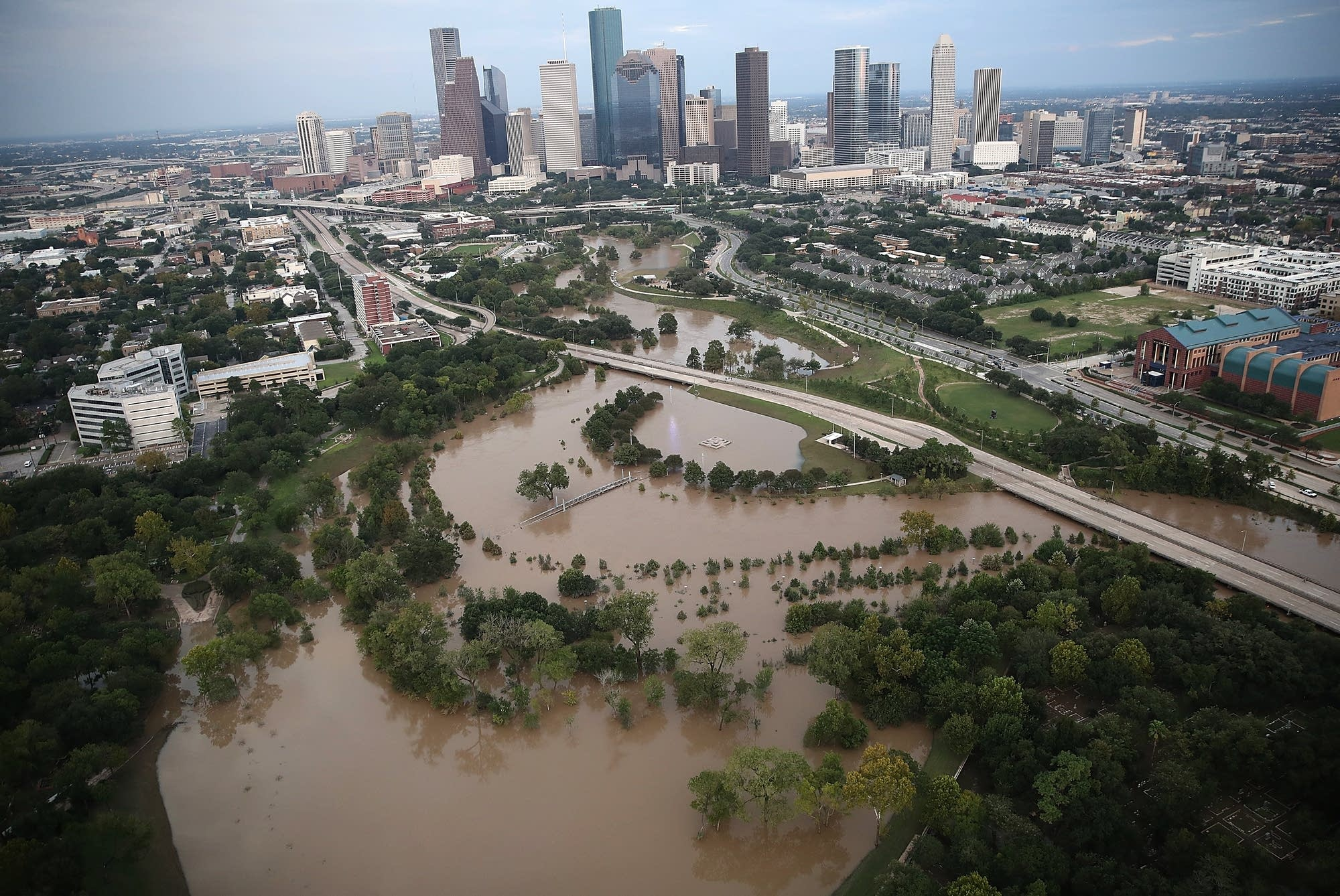 Flooding is seen near downtown Houston.