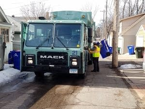 A Eureka Recycling truck empties bins