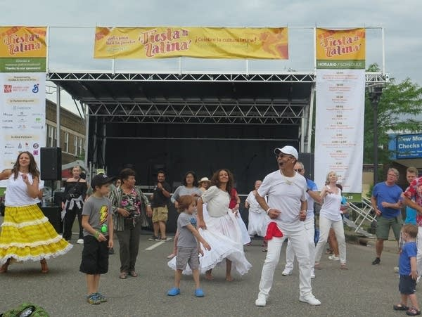 Visitors dance at the Fiesta Latina celebration