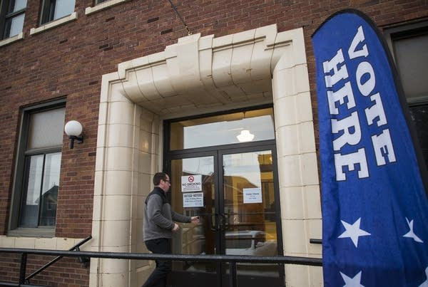 A voter walks into the Eveleth City Auditorium Tuesday.