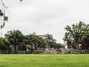 Two weeks after the initial explosion, Minnehaha Academy is in rubble.