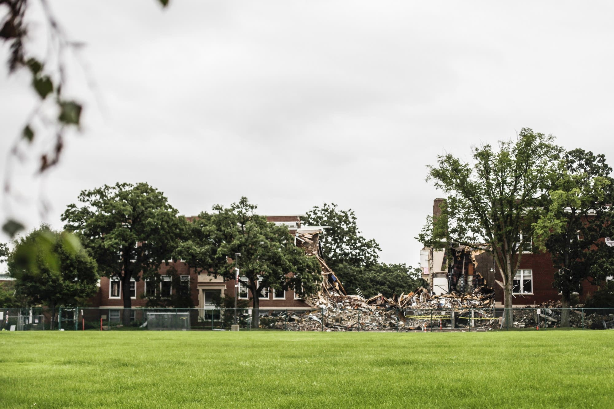 Rubble still sat at Minnehaha Academy's Upper School last week