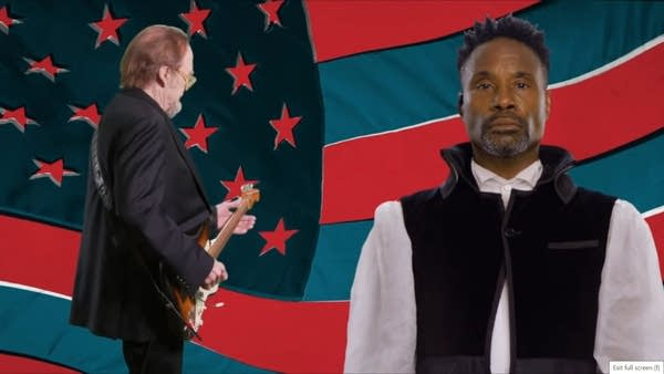Musicians Stephen Stills & Billy Porter in front of a green-screened flag