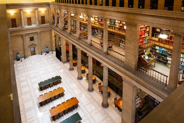 The James J. Hill Center reading room is seen from the 3rd floor.
