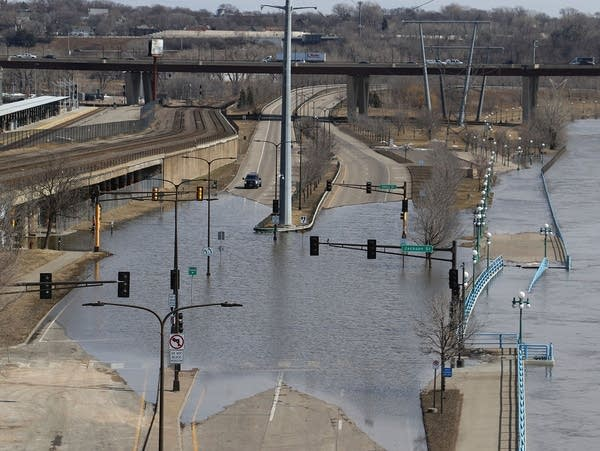 Floodwaters cover parts of Shepard and Warner roads