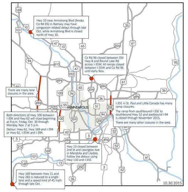 Highway 100 closure tops list of Twin Cities weekend road