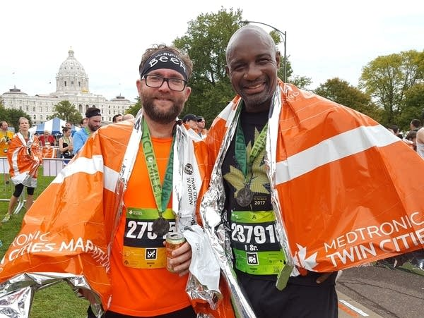 Brian Singer and Paul Idusogie ran the 10 mile race together.