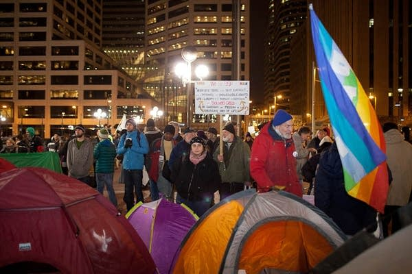 OccupyMN sets up tents