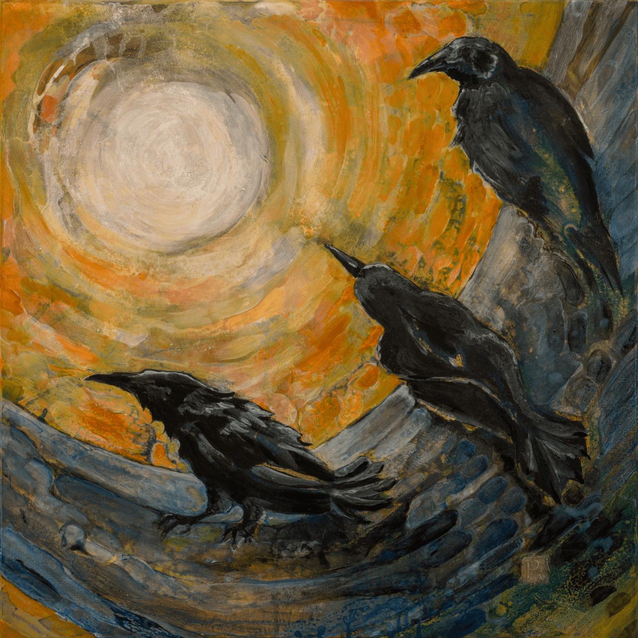 A painting of three birds.