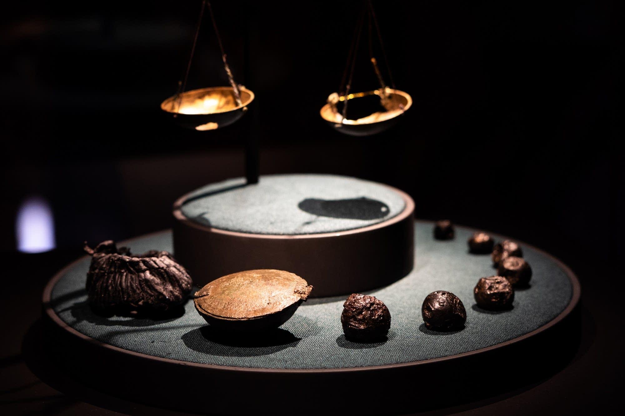 Viking trading weights on display.