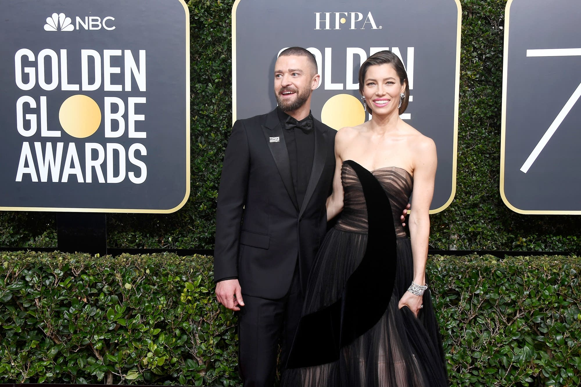 Justin Timberlake and Jessica Biel arrive at the Golden Globes.