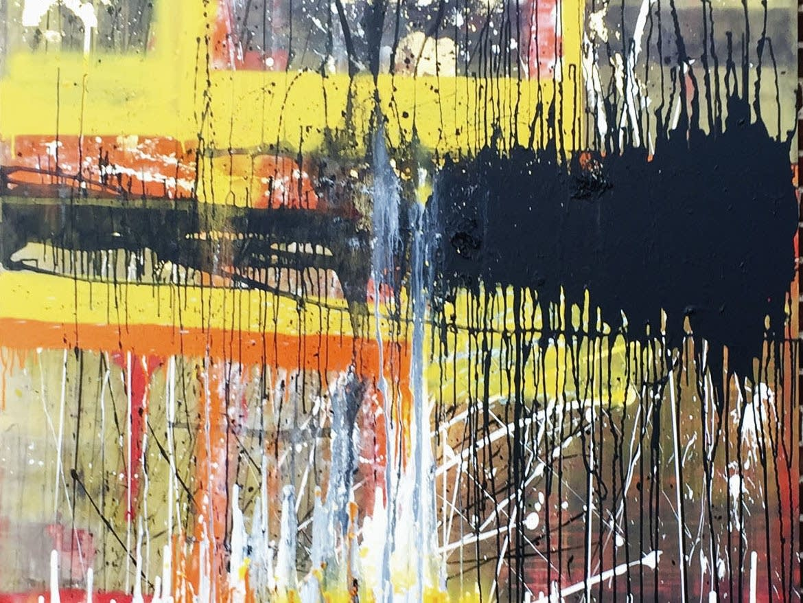 Detail of an abstract painting by Mohamed Hersi
