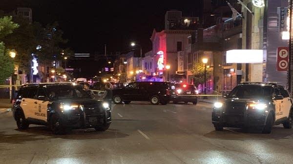Squad cars block a street