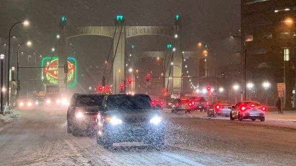 Snowy Hennepin Avenue in downtown Minneapolis.
