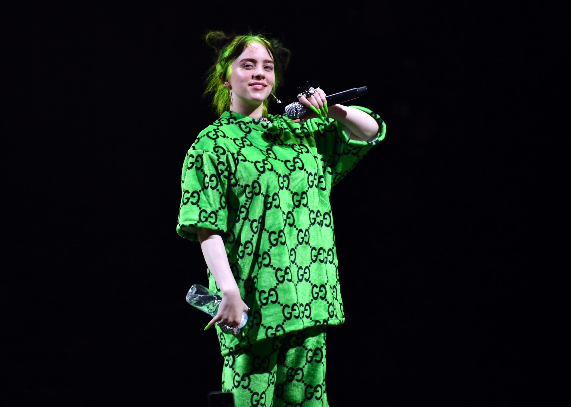 Billie Eilish performing in Los Angeles