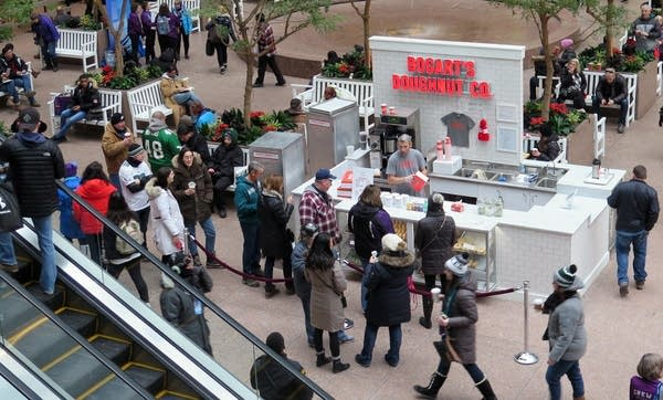 The Bogart's Doughnut Co. stand at the IDS was busy on Friday.