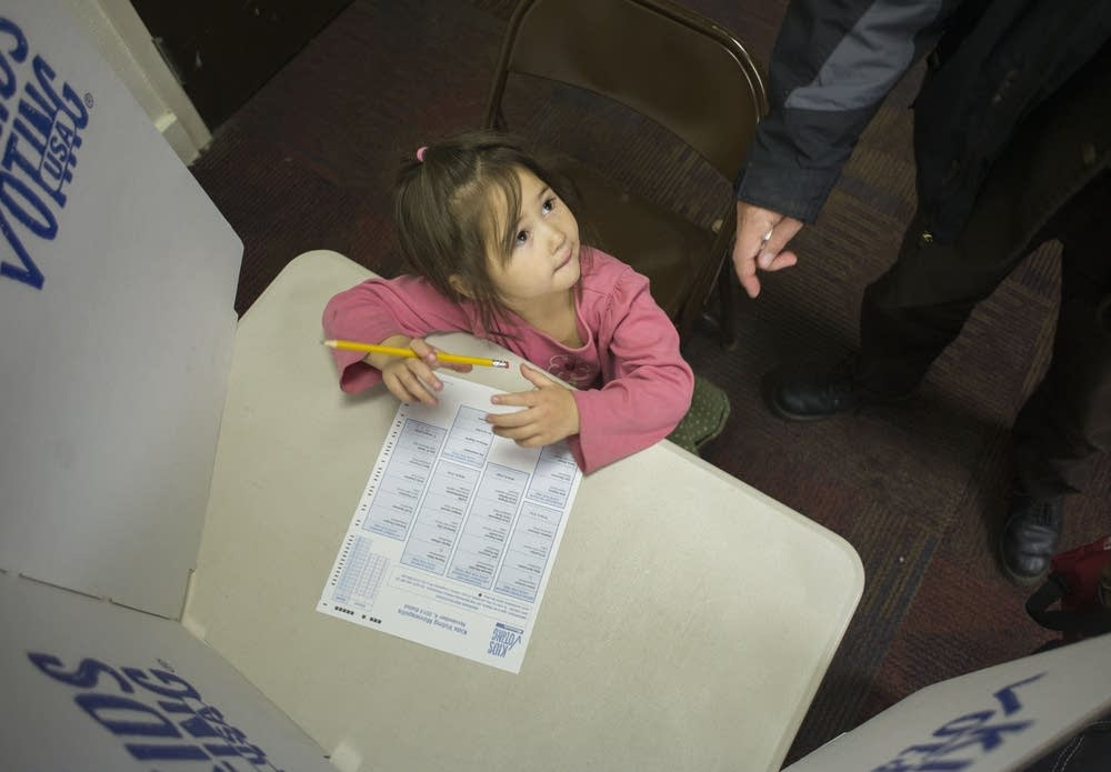 Solveig Wilson fills out her Kids Voting ballot.