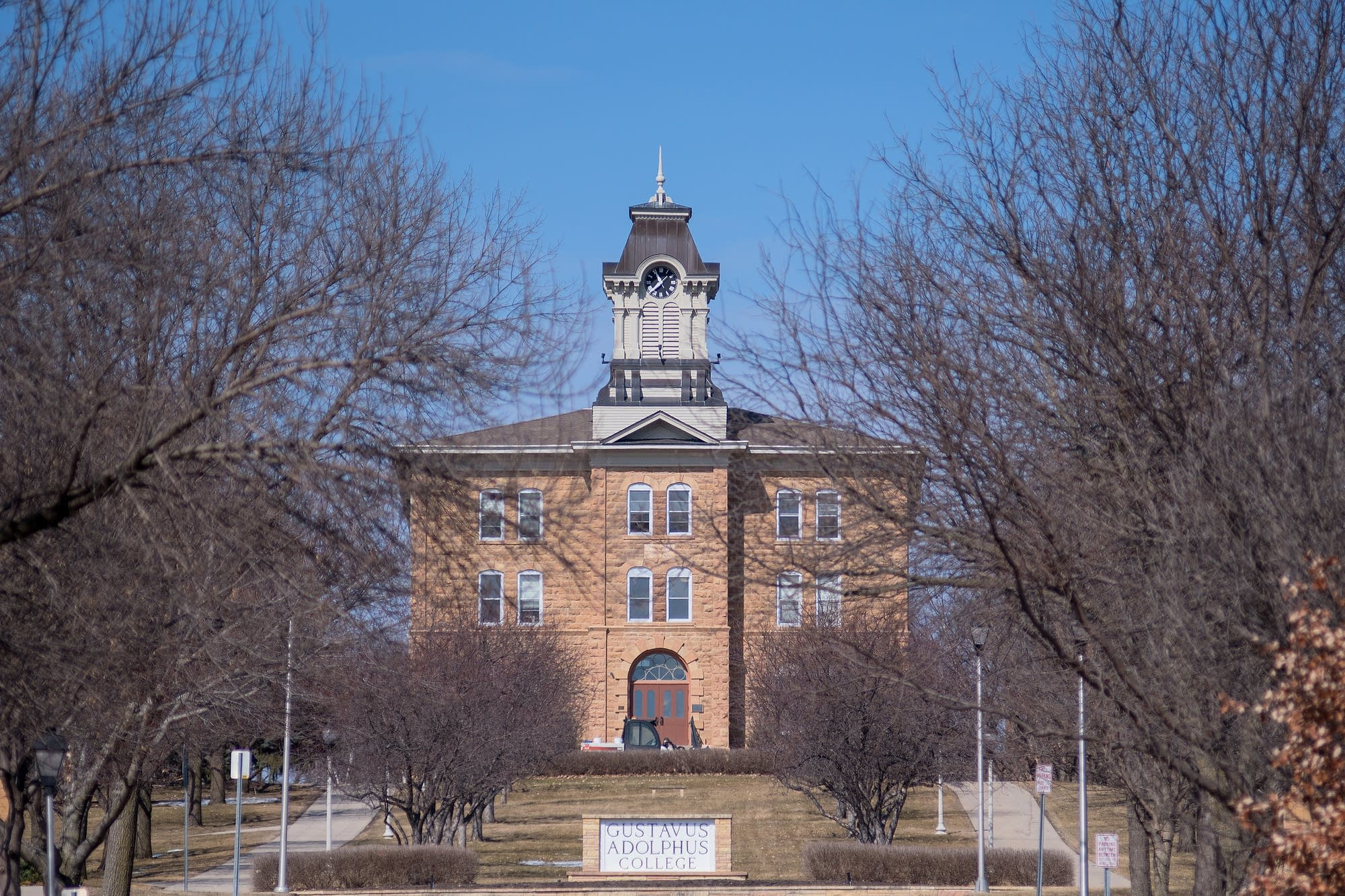 The Old Main building on the Gustavus Adolphus campus was heavily damaged.