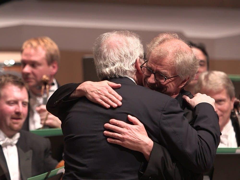 Emanuel Ax hugs Osmo Vanska