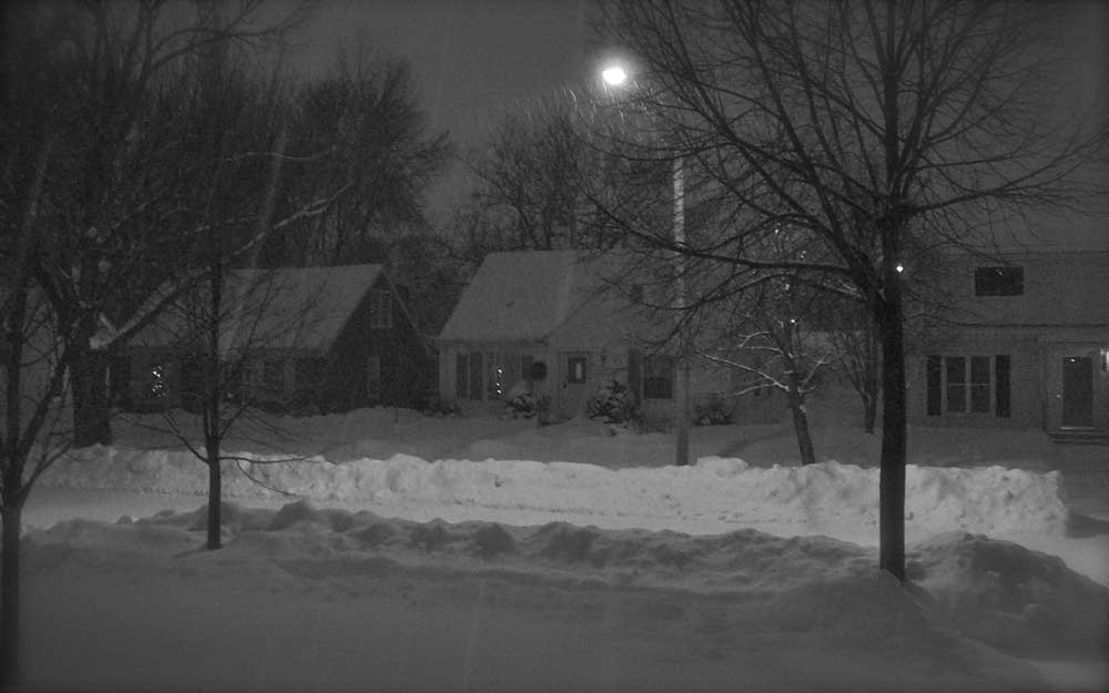 snowy night black and white