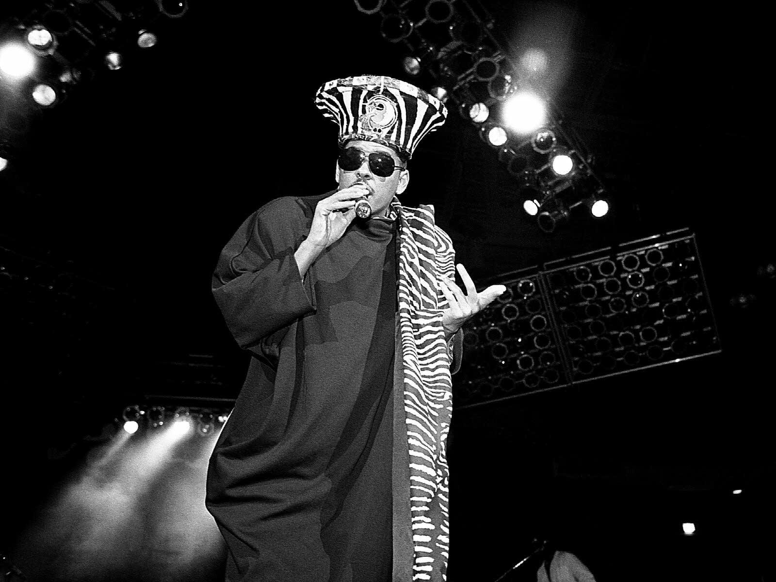 Rapper Shock G. of Digital Underground performing in 1990
